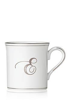 Lenox Federal Platinum Script Monogram E Mug