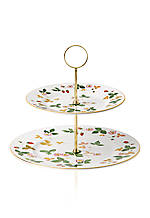 Wild Strawberry Two-Tier Cake Stand 10.6-in. H