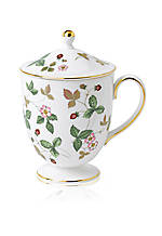 Wild Strawberry Footed Leigh Mug Lidded 10-oz.