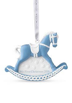 Wedgwood 2016 Baby's First Christmas Blue Rocking Horse Ornament