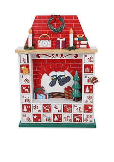 Kurt S. Adler Wooden Chimney Christmas Advent Calendar with Ornaments