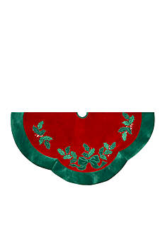 Kurt S. Adler Red Velvet With Green Leaves Treeskirt
