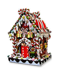 Kurt S. Adler Claydough and Metal Candy House With Lighted Decortations