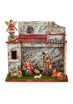 Kurt S. Adler Musical Nativity Set with 7 Figures and Stable