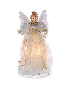 Kurt S. Adler Fiber Optic Ivory and Gold Animated Angel Treetop