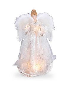 Kurt S. Adler White and Silver Lighted Angel Treetop
