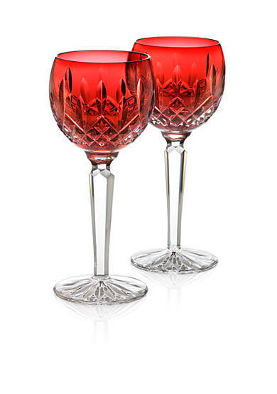 Waterford Lismore Crimson Hock Wine Glasses - Set of 2