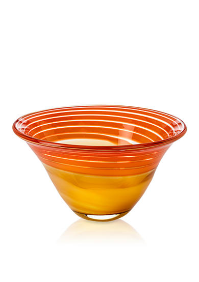Waterford Evolution Red & Amber 8-in. Swirl Bowl