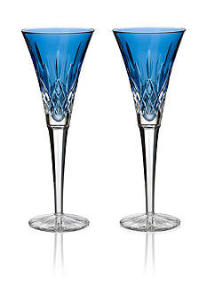 Waterford Lismore Sapphire Toasting Flute Pair