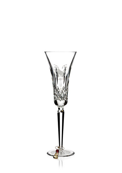 Waterford Lismore Partridge Etched Crystal Flute with Charm