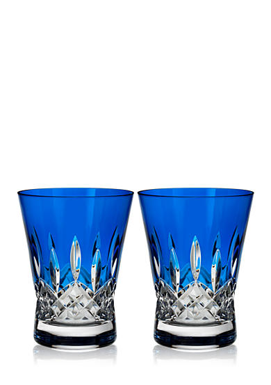 Waterford Crystal Lismore Pops Cobalt Set of 2 Double Old Fashion Glasses