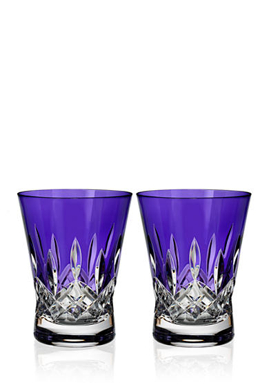 Waterford Crystal Lismore Pops Purple Set of 2 Double Old Fashion Glasses