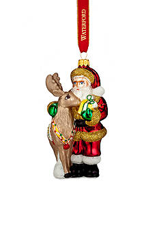 Waterford 2016 Holiday Heirloom Nostalgic Collection Santa with Reindeer Ornament