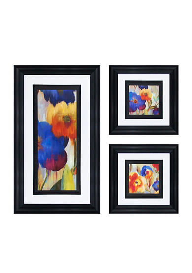 Patton Picture 3-piece Ikat Florals Art Decor Set - Online Only