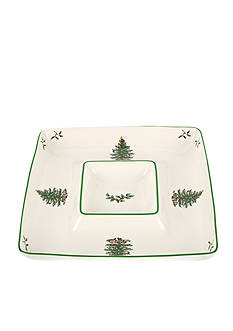 Spode Christmas Tree Square Chip & Dip Bowl