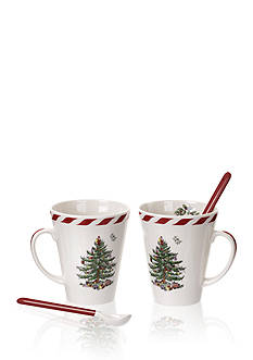 Spode Christmas Tree Peppermint Mug with Spoon - Set of 2