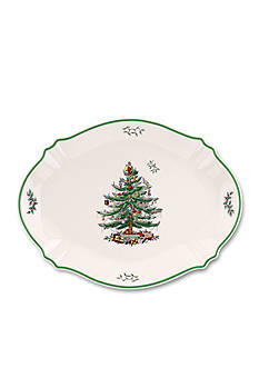 Spode Christmas Sculpted Tree Oval Platter 17-in.