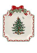 Spode Christmas Tree Gold Ribbons Canape Plate
