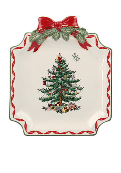 Spode christmas tree gold ribbons canape plate belk for Christmas canape plates