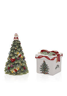 Spode Christmas Tree Gold Ribbons Tree and Gift Box Salt & Pepper Set