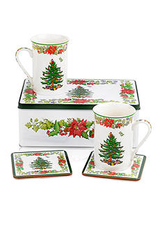 Royal Worcester Spode Christmas Tree Poinsettia 5-piece Gift Set