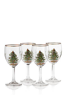 Spode Christmas Tree Set of 4 Wine Glasses 13-oz.