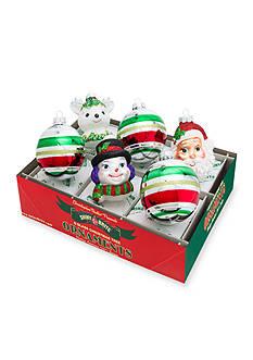 Christopher Radko™ 6-Piece Holiday Splendor Santa, Snowman, and Deer Decorated Round Ornament Set