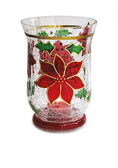 Crystal Clear Poinsettia Hurricane Candle Holder
