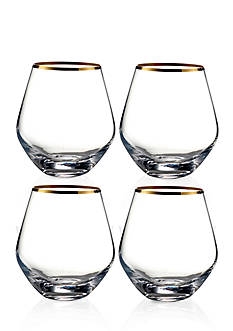 Fitz and Floyd Michel Gold Rim Stemless Wine Glasses, Set of 4