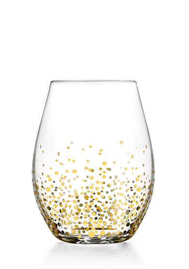 Fitz and Floyd Gold Luster Stemless Wine Glass, Set of 4