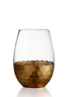 Fitz and Floyd Daphne Gold Set of 4 Stemless Glasses