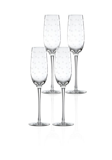 kate spade new york® Larabee Dot Set of 4 Flute Glasses
