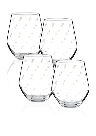 kate spade new york® Larabee Dot Set of 4 Stemless White Wine Glasses