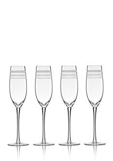 kate spade new york® Library Stripe Set of 4 Flutes