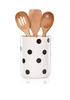 kate spade new york® all in good taste Deco Dot Utensil Crock and Wooden Utensils