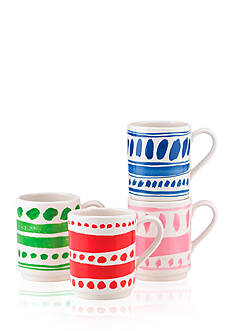 kate spade new york® all in good taste Set of 4 Illustrated Stacking Mugs