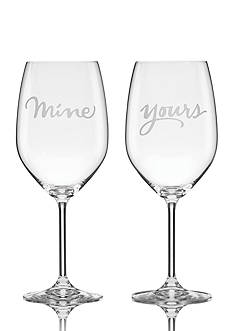 kate spade new york® Two of a Kind Yours and Mine 2-Piece Wine Glass Set