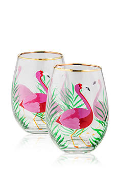Home Essentials Hand-painted Flamingo Stemless Glasses, Set of 2