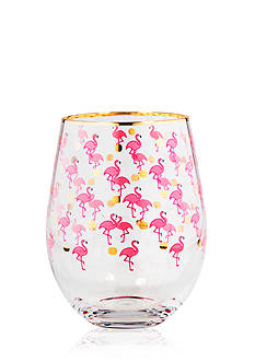 Home Essentials Flamingo & Dots Stemless Glasses, Set of 2