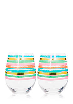 Home Essentials Pastel Stripes Stemless Glasses, Set of 2