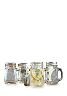Home Essentials Set of 4 Handled Mason Jar Glasses with Lids