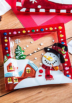 Home Essentials Square Glass Snowman Plate