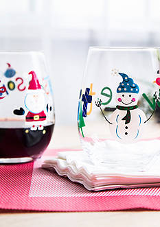 Home Essentials Santa & Snowman Glass Set