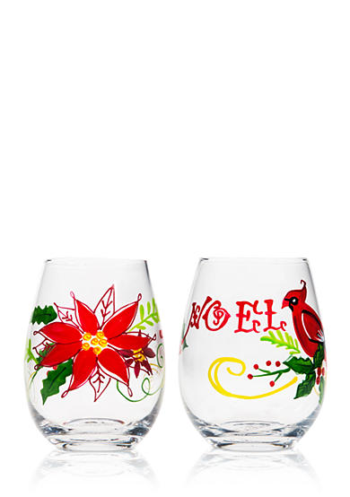 Home Essentials Cardinal and Poinsettia Stemless Wine Glass, Set of 2