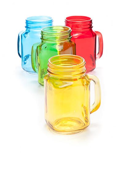 Home Essentials Set of 4 Handled Multi Colored Mason Jars