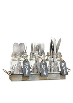 Home Essentials Galvanized Mason Jar Flatware Caddy