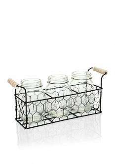 Home Essentials Country Chic Mason Jars Caddy Set