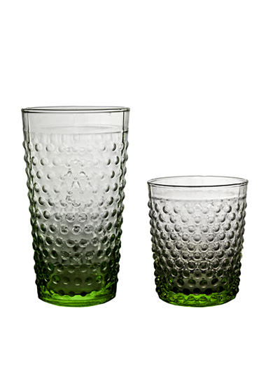 Home Essentials Green Hobnail Glassware - Online Only