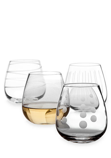 Mikasa Cheers Set of 4 Stemless White Wine Glasses