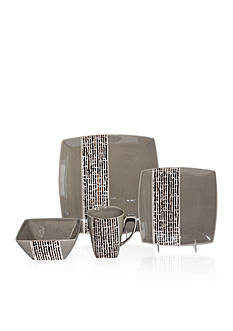 Baum Brothers Fragments Gray 16-Piece Dinnerware Set